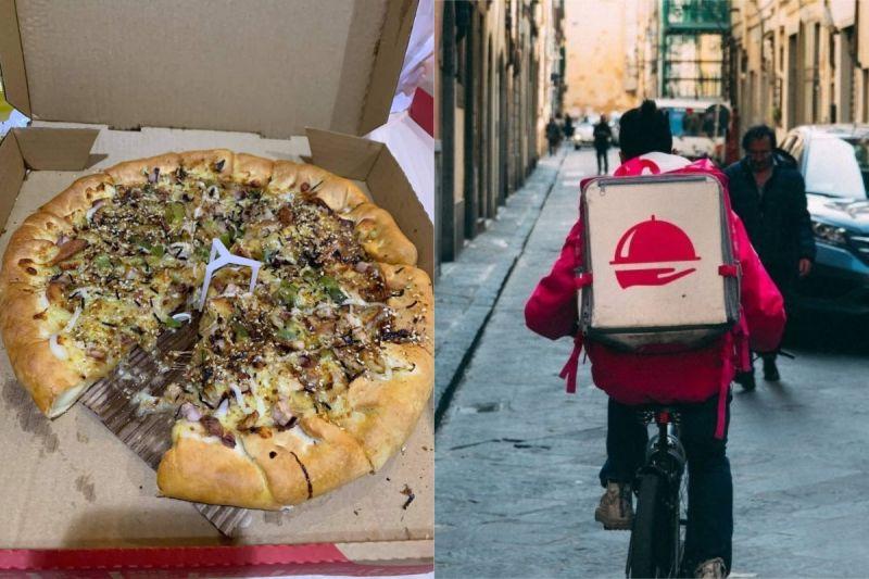 ▲有網友叫外送披薩,並請外送員暫放在1樓大廳,回家一開卻驚見「少一片」。(示意圖/翻攝自《爆怨2公社》及《pixabay》 )