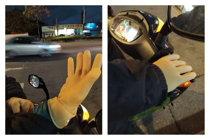 ▲一位人夫騎車時戴上別出心裁的「防風手套」,讓網友都笑翻了。(圖/翻攝自《爆廢公社二館》臉書社團)