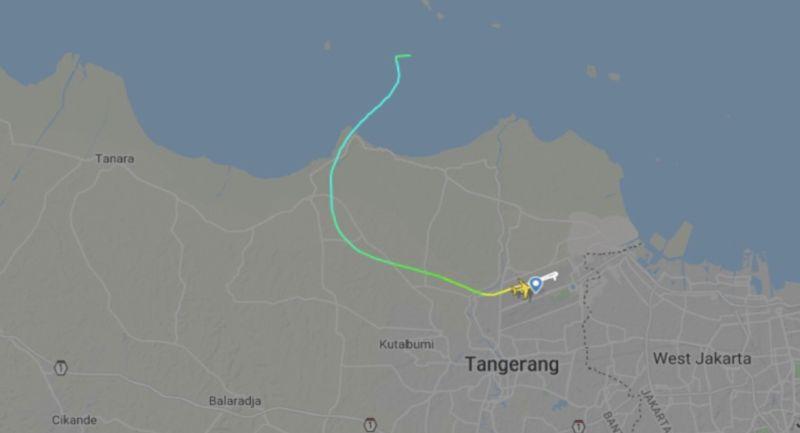 ▲三佛齊航空的SJ-182班機起飛後不久就在爪哇海上空失聯。(圖/翻攝自Flightradar24)
