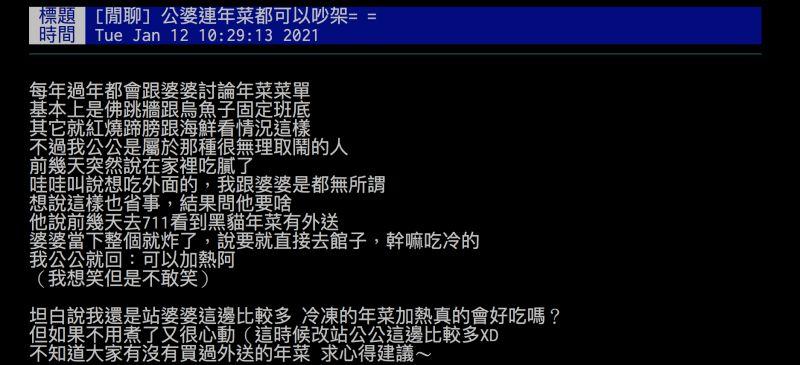 ▲網友透露公婆因為對年菜的意見不同而吵架。(圖/翻攝自批踢踢)