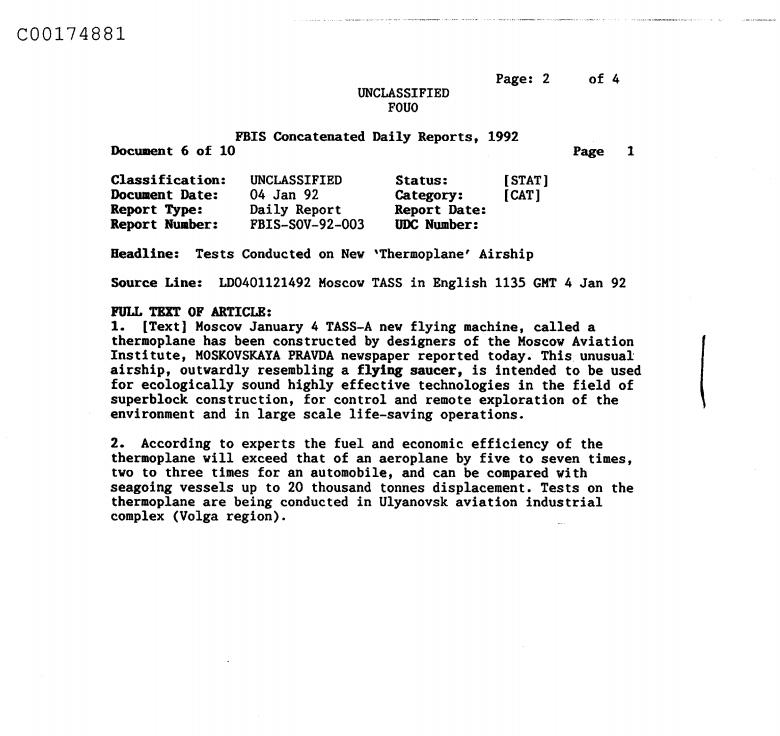 ▲在C05516691這份研究文件中還提到,俄國疑似設計出一種飛行器「Thermoplane」,外型相當特殊(圖/翻攝Black