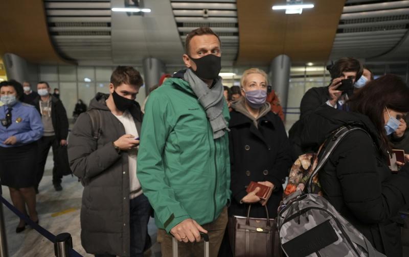▲俄羅斯反對派領袖納瓦尼(Alexei Navalny)17日從德國首都柏林搭機並降落在莫斯科一座機場,但現場的外媒記者指出,納瓦尼返抵國門沒多久後就被俄國警方拘捕。(圖/美聯社/達志影像)