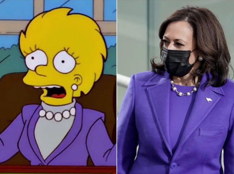 辛普森家庭又現神預言?賀錦麗就職穿搭 撞衫卡通主角