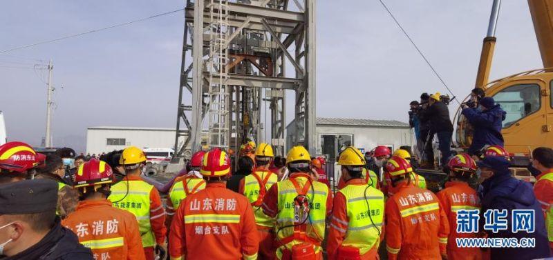 ▲1月24日,山東棲霞金礦事故現場共進駐633為救難人員。(圖/翻攝自新華社)