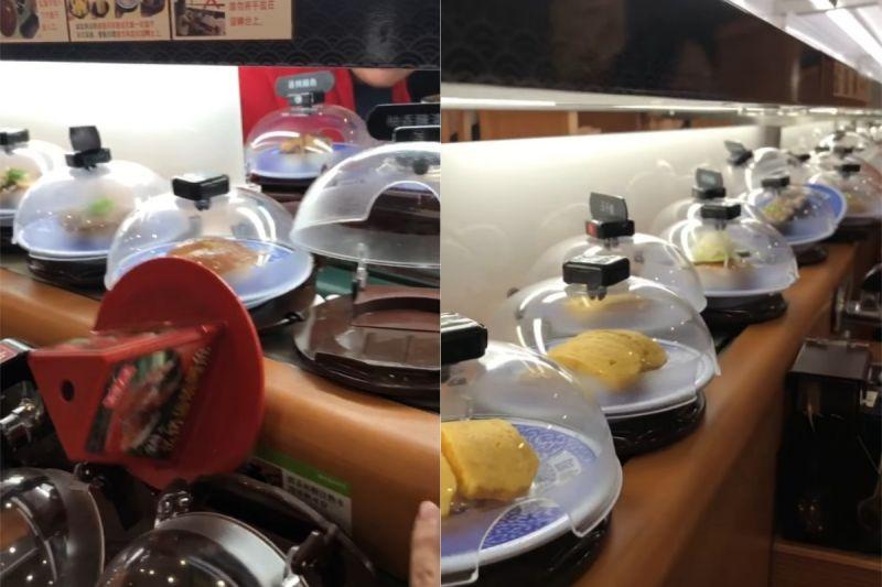 ▲有網友去吃迴轉壽司時,竟遇到餐盤「連環車禍」,讓他相當傻眼。(圖/翻攝自《爆怨公社》 )