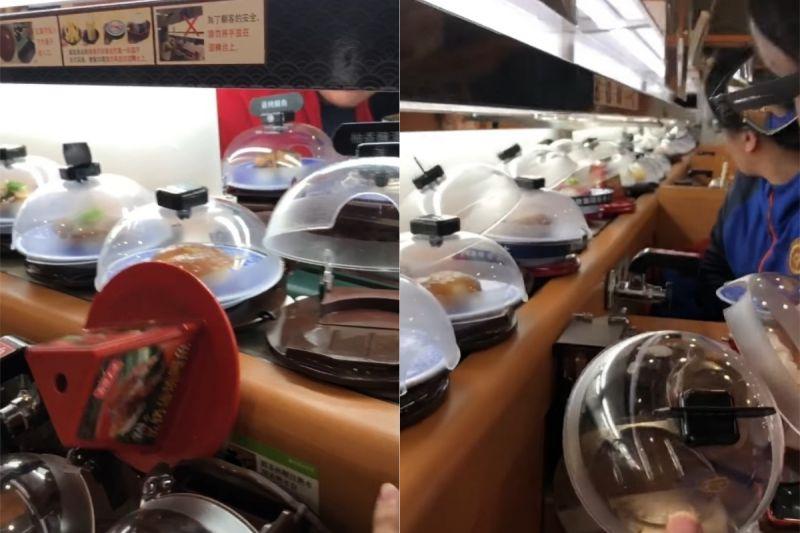 ▲有兩盤掉在原PO的桌上,讓鮭魚片跟美乃滋直接黏在他的牛仔褲上。(圖/翻攝自《爆怨公社》