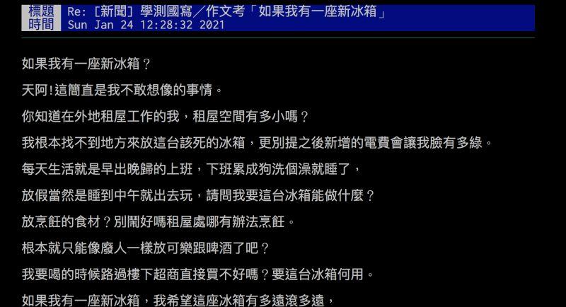 ▲網友以「我的新冰箱」寫出租屋族心聲,引發熱議。(圖/翻攝自批踢踢)