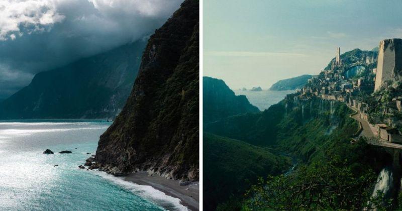 ▲Trevin Blount 的超夢幻照因與2017年《神力女超人》電影中的「天堂島」有幾分相似,馬上得到網友熱烈回應。(圖/Trevin Blount提供和擷取自神力女超人預告片)