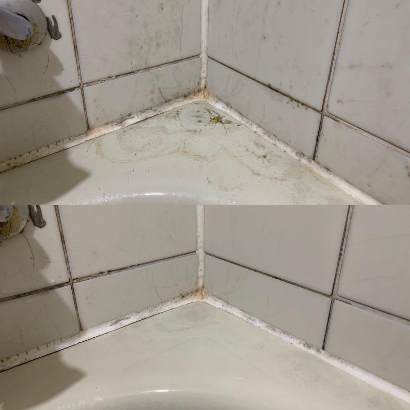 ▲使用過高樂氏CLOROX「萬用強力去污清潔劑」,可以擦去陳年的浴缸髒污,把乾淨還給家裡。(圖/記者鄭志宏攝)