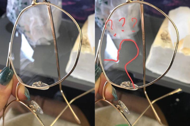 ▲閨蜜最後拿起眼鏡往後對準,成功拍下帥哥的倒影。(圖/翻攝自《爆廢1公社》