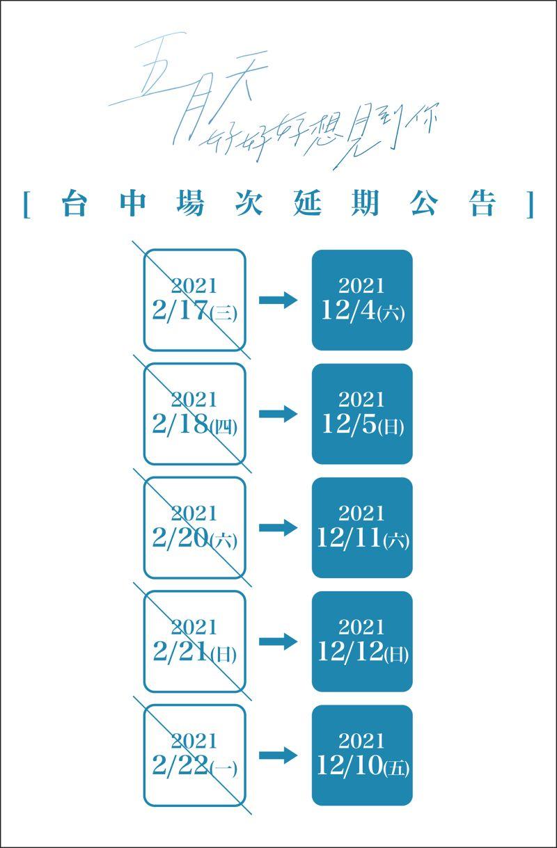 ▲五月天台中演唱會5場全延到12月。(圖/相信音樂臉書)
