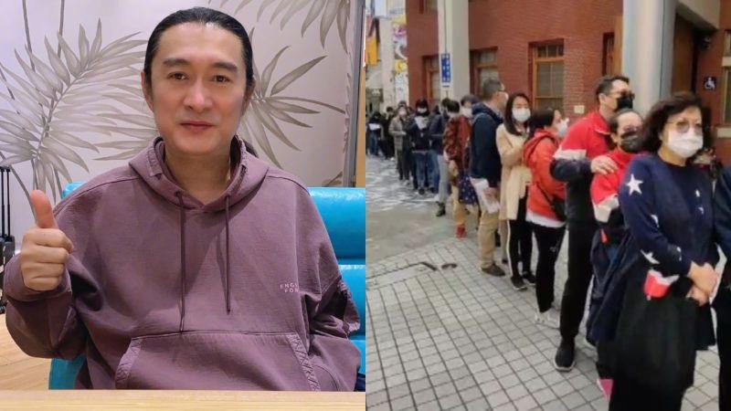 ▲黃安(左圖)譏諷台灣民眾排隊瘋搶防疫保單現象。(圖/黃安微博、記者李春台翻攝)