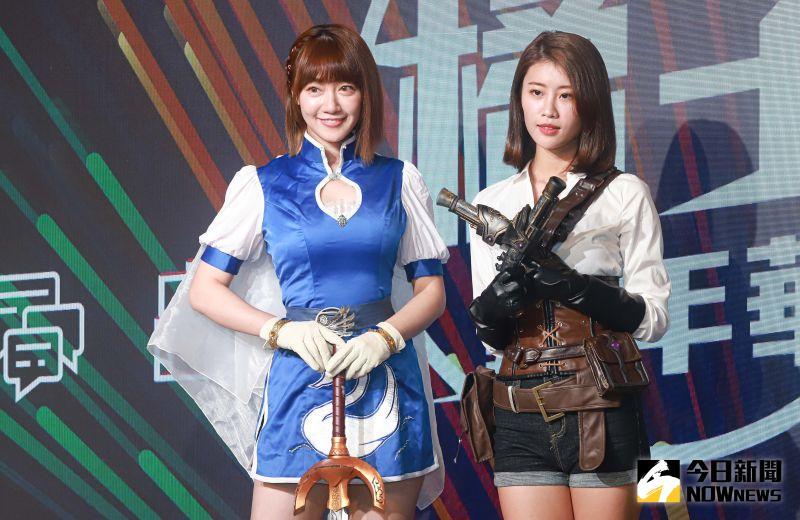 ▲泱泱(左)、林真亦(右)分別cosplay成天堂M裡的角色出席橘子嘉年華開展記者會。(圖/記者葉政勳攝