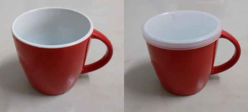 ▲女網友PO出自己將罐頭蓋子蓋在馬克杯上的照片。(圖/翻攝自《我愛全聯-好物老實說》)