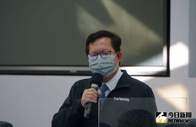 ▲桃園市長鄭文燦1日上午主持完防疫會議,會後表示將立即全桃第二輪消毒。(圖/記者呂炯昌攝。2021.02.01)