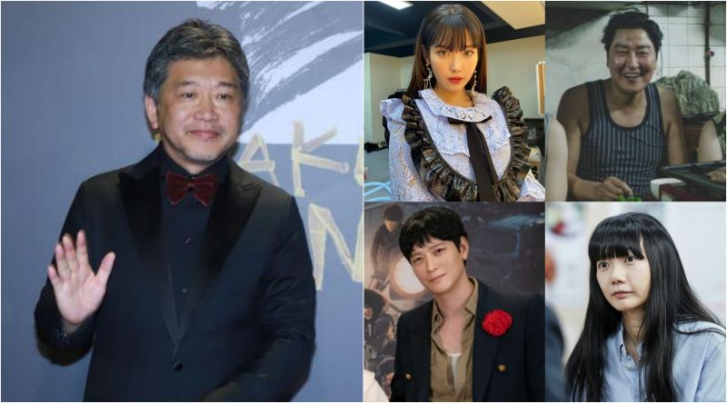 ▲▲IU(右圖左上圖起)宋康昊、姜棟元、裴斗娜等大咖將是是枝裕和新片要角。(圖/資料照、Netflix、CatchPlay)