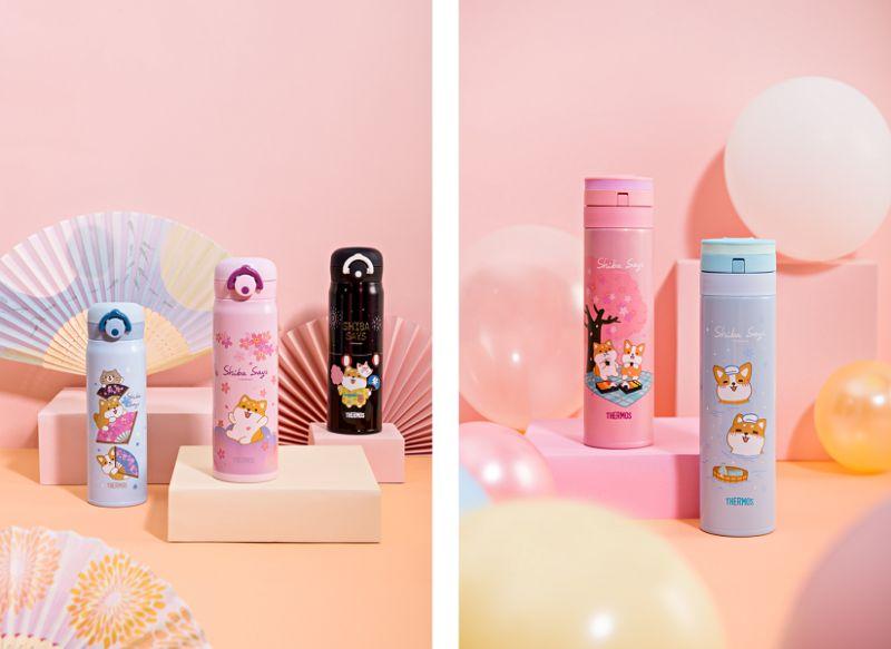 ▲柴語錄系列保溫瓶,杯身圖案以櫻花、泡湯等情境為設計,營造日本風情。(圖/資料照片)