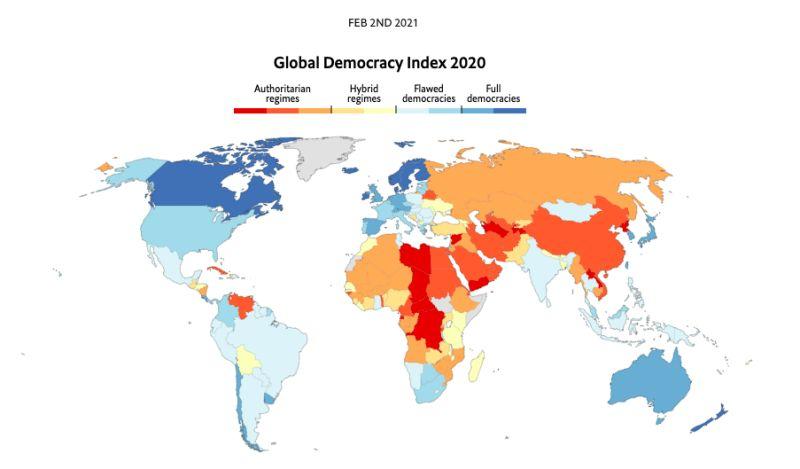 ▲《經濟學人》指出,受到疫情封鎖的影響,全球民主自由指數來到歷史新低,但同時台灣的表現卻十分出色,排名全球第11。(圖/翻攝自The