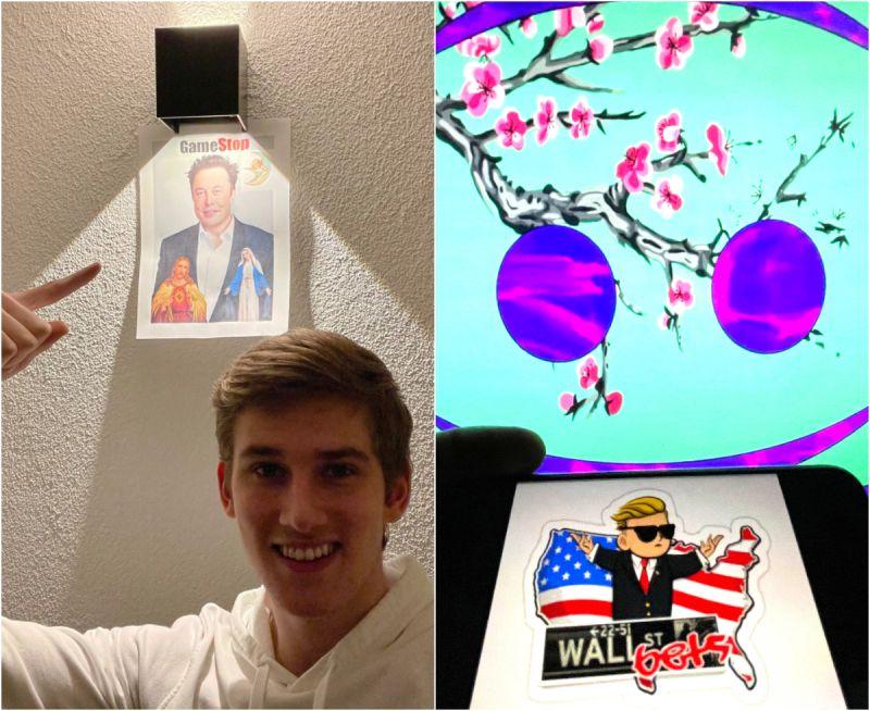 ▲奧斯特林克在房間裡掛著帶有瀰因風格的照片。(圖/翻攝自Twitter/美聯社/達志影像)