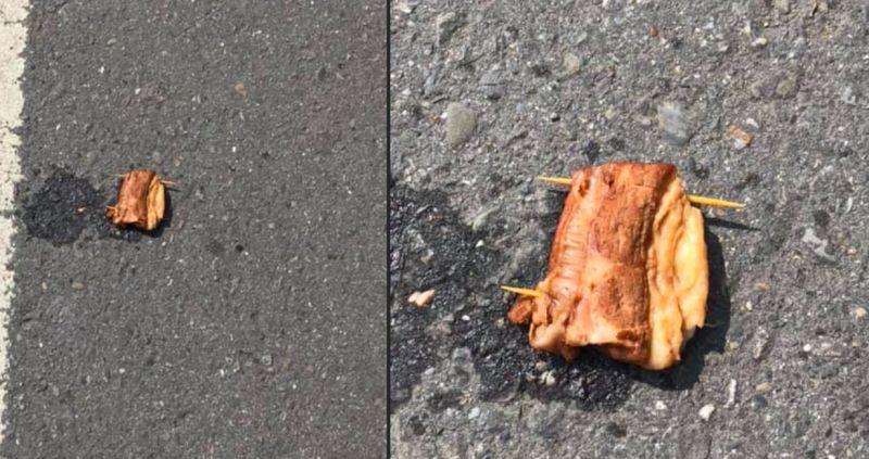 ▲網友分享自己在路邊看到一塊真的爌肉。(圖/爆廢公社二館)