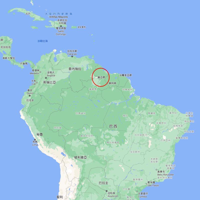 ▲蓋亞那位於南美洲北部,1966年獨立之前為英國殖民地。(圖/截取自Google