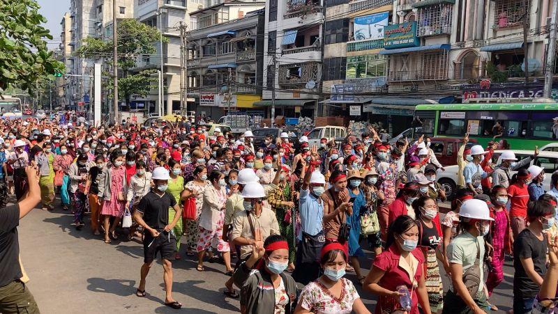 緬甸/抗議/聲援翁山蘇姬/軍事政變