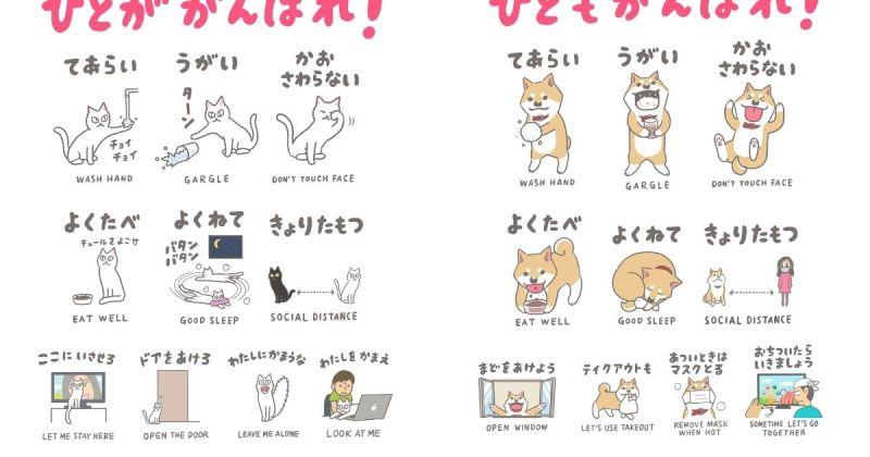 畫家曬超Q毛小孩防疫海報 日本貓奴讚:動作超到位!