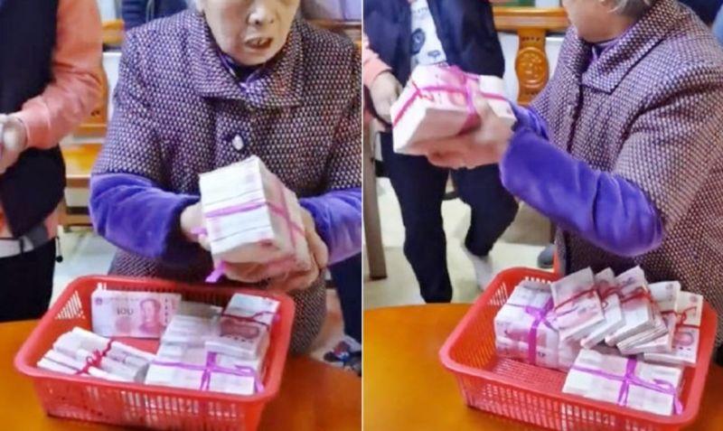 ▲影片中有人透露,這些錢其實是外婆收租得來的。(圖/翻攝自《好看視頻》