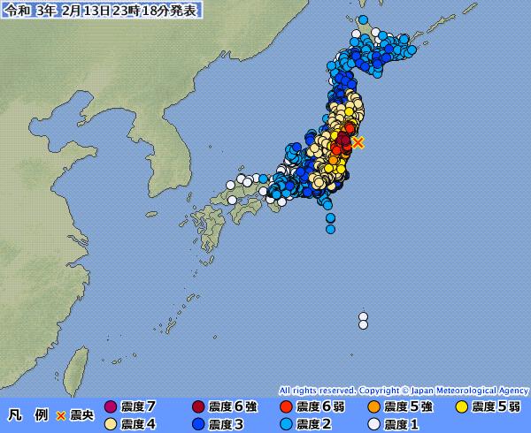 日本福島外海7.3強震 311大地震餘震