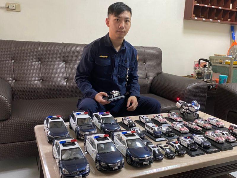 仁武分局警員郭勁南,夢想是全部擁有服務過每個單位的巡邏車。(圖/仁武分局提供)