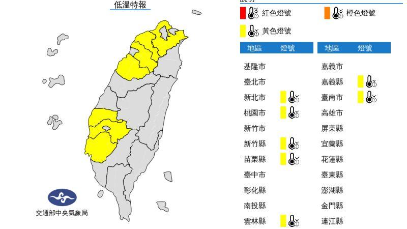 ▲氣象局針對全台7縣市發布低溫特報,包括新北市、桃園市、台南市等,今晚氣溫下探10度以下。(圖/翻攝自中央氣象局)