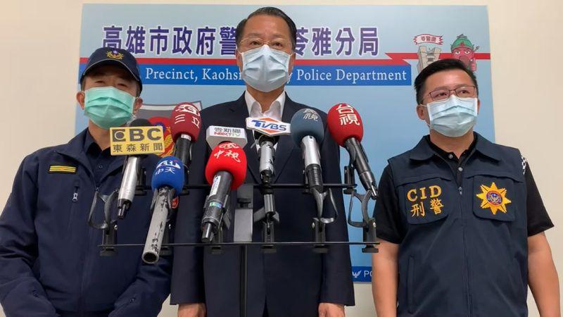 ▲高雄市警察局長黃明昭(中)深夜親自召開記者會宣告破案。(圖/翻攝畫面)
