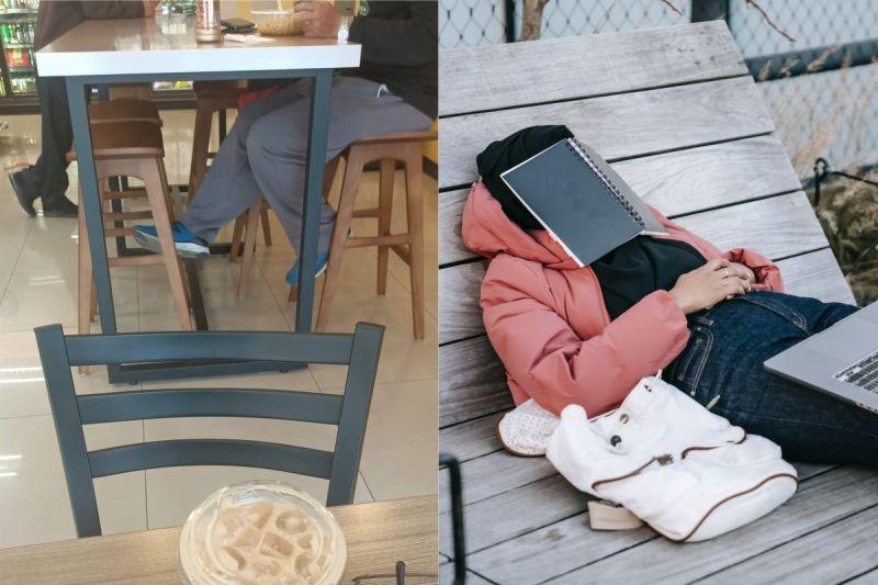 ▲有網友抱怨,到超商午睡一下,卻被隔壁用餐的客人吵醒。(示意圖/翻攝自《爆怨2公社》及《pexels》 )