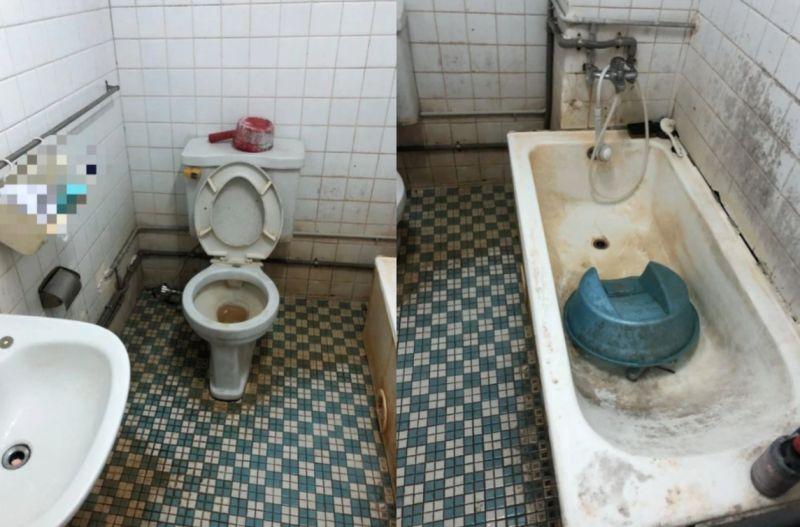▲女網友PO出朋友公司宿舍的浴室照片。(圖/翻攝自《Dcard》)