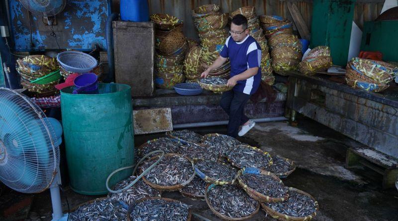 ▲小威(左)體驗當地傳統漁法「曬魚乾」。(圖/公視)