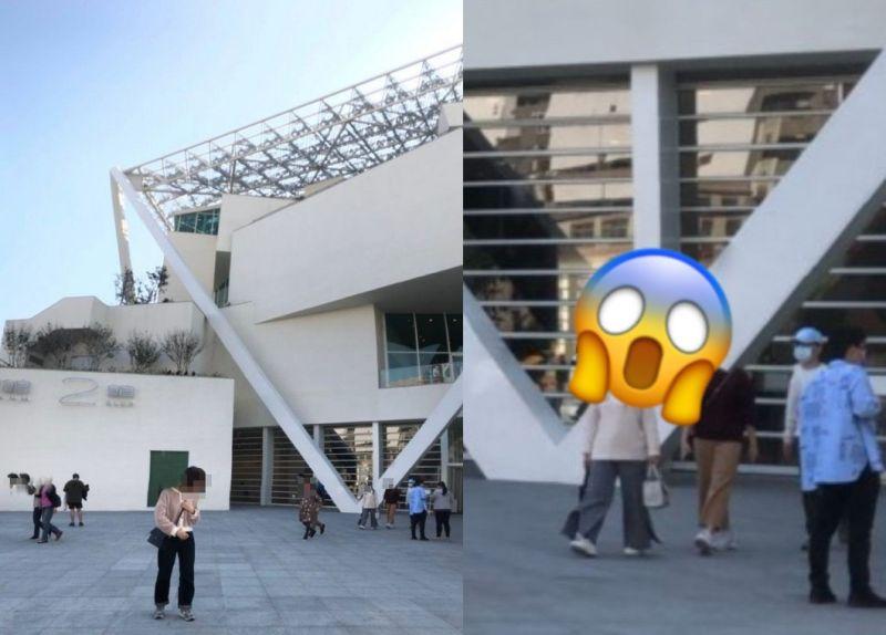 ▲一名女網友分享朋友和男友到台南美術館遊玩,男方替女方拍攝的「詭異斷頭照」。(圖/翻攝自《Dcard》)