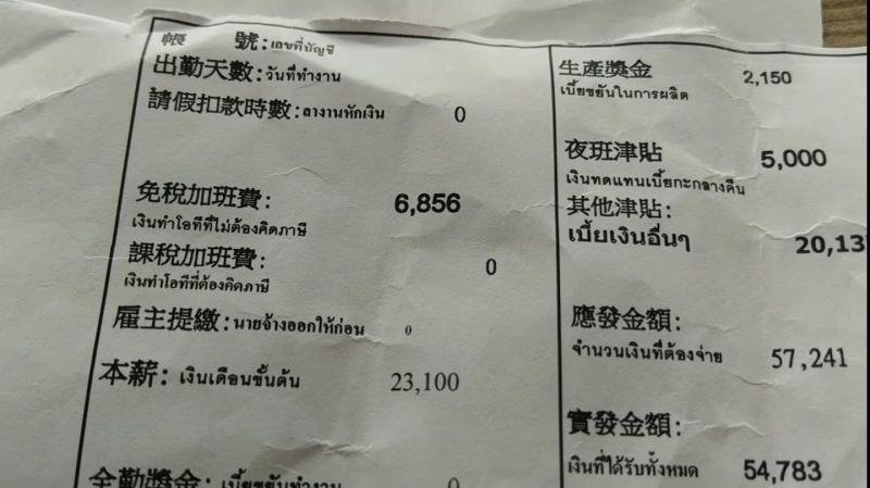 ▲一張泰籍勞工的薪資單曝光,引發網友熱議。(圖/爆廢公社公開版)