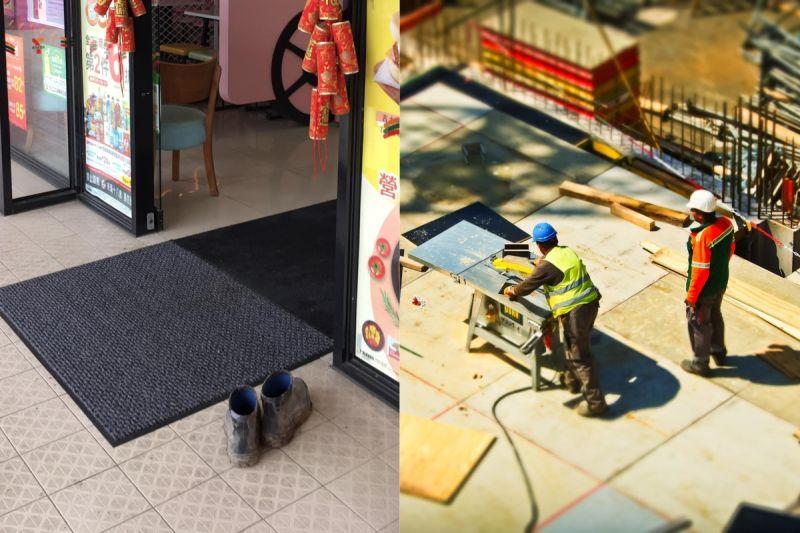 ▲有網友拍下超商店門口,仔細一看就會發現,地毯旁竟擺著一雙做工鞋。(示意圖/翻攝自《pexels》 )