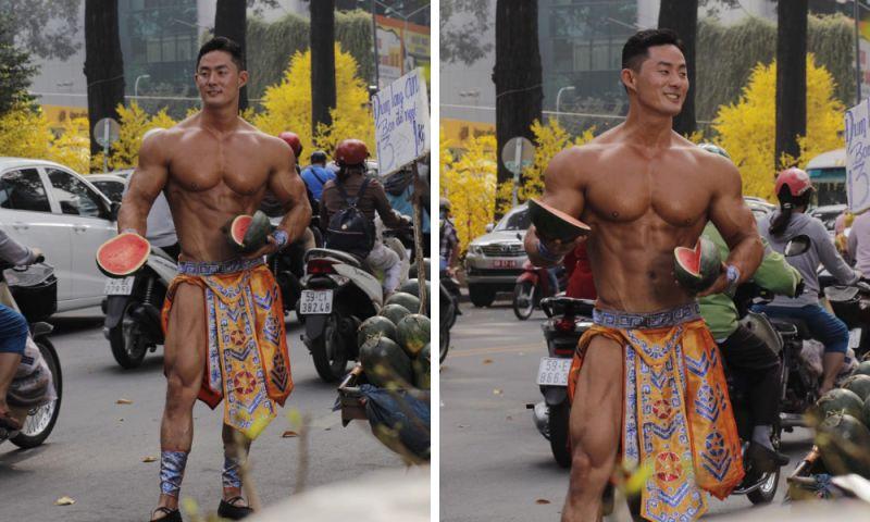 越南街頭驚現肌肉猛男!男神「纏腰布」賣西瓜爆紅