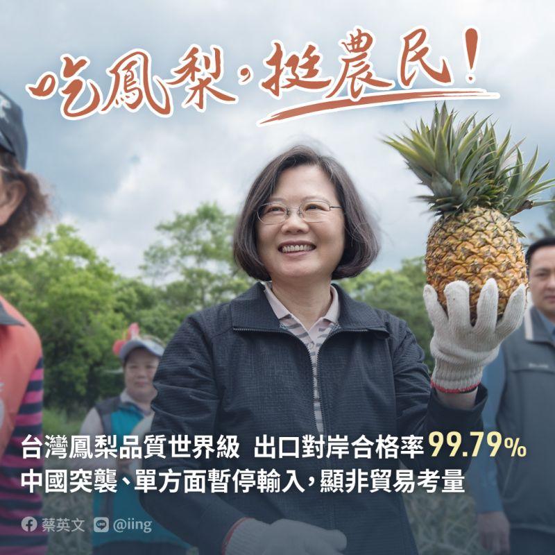 搶救鳳梨挺農民!蔡英文、蘇貞昌28日分赴產地訪視