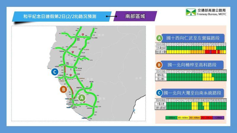 ▲連續假期第2日南部路段路況預報圖。(圖/高公局)