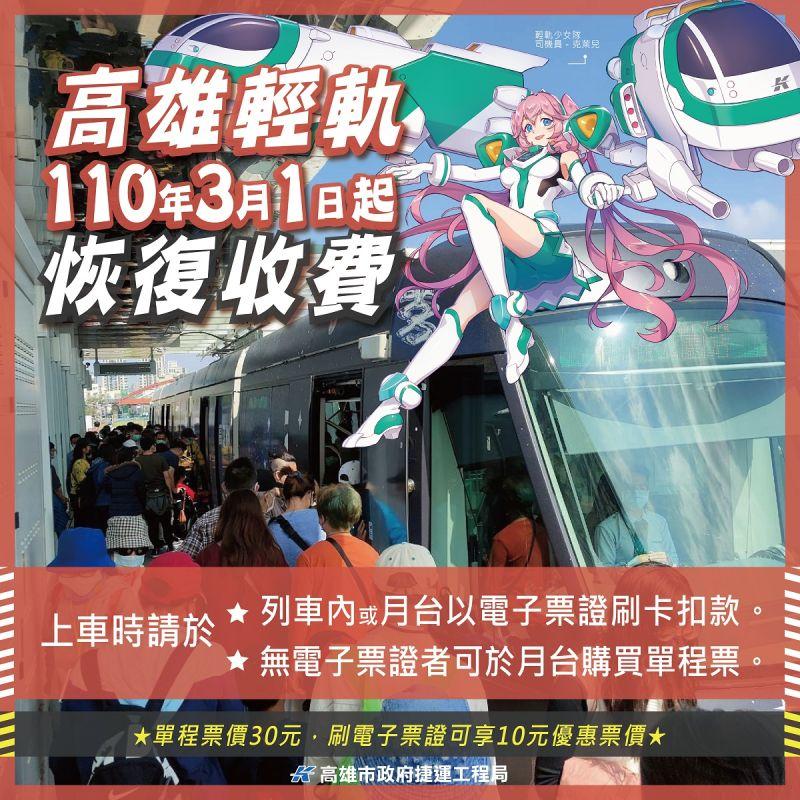 ▲高雄輕軌大南環路段自3月1日起開始正式收費。(圖/高市捷運局提供)