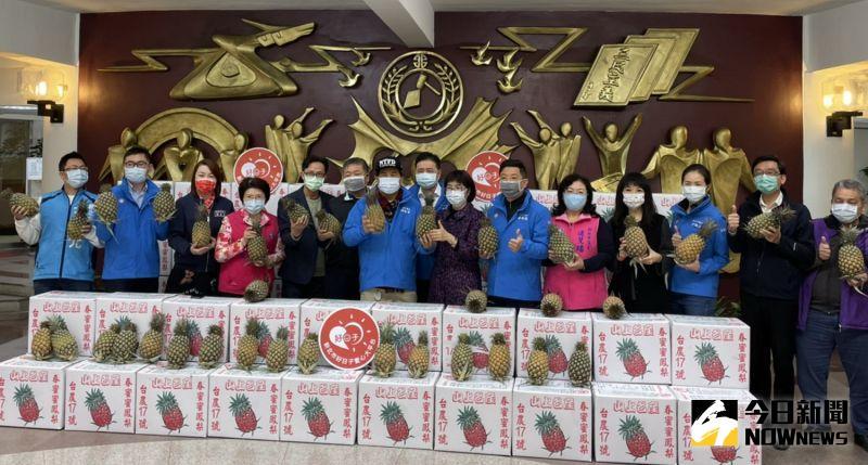 一戶一鳳梨 藍營新北議會黨團認購700箱捐愛心大平台