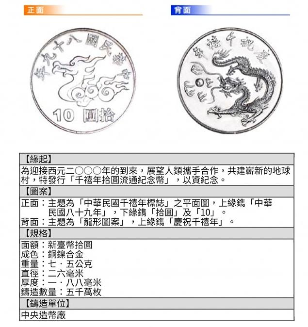 ▲千禧年流通10元紀念幣的設計緣起。(圖/翻攝自《爆廢公社公開版》臉書)