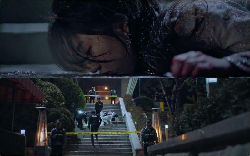 ▲▼劇中,金賢秀(上)被殺害;下集將出現「神祕女」,觀眾猜測是李智雅。(圖/SBS