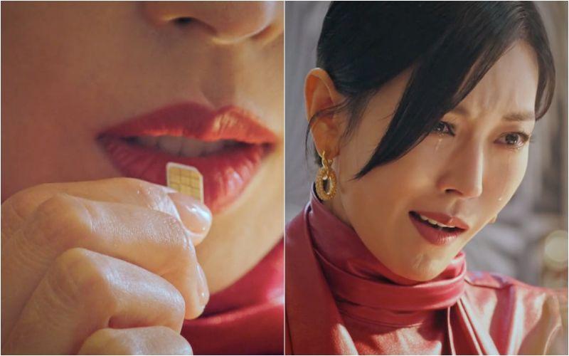 ▲劇中,金素妍為了毀掉殺父影片,誤把SIM卡吞下肚。(圖/愛奇藝國際站)