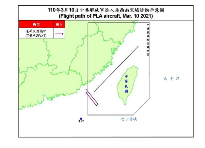 ▲國防部公布今(10)日共機擾台路線示意圖。(圖/國防部提供)