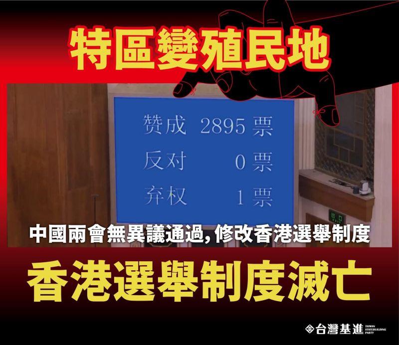 人大出手改香港選舉制度 基進批:特區變「樣板殖民地」