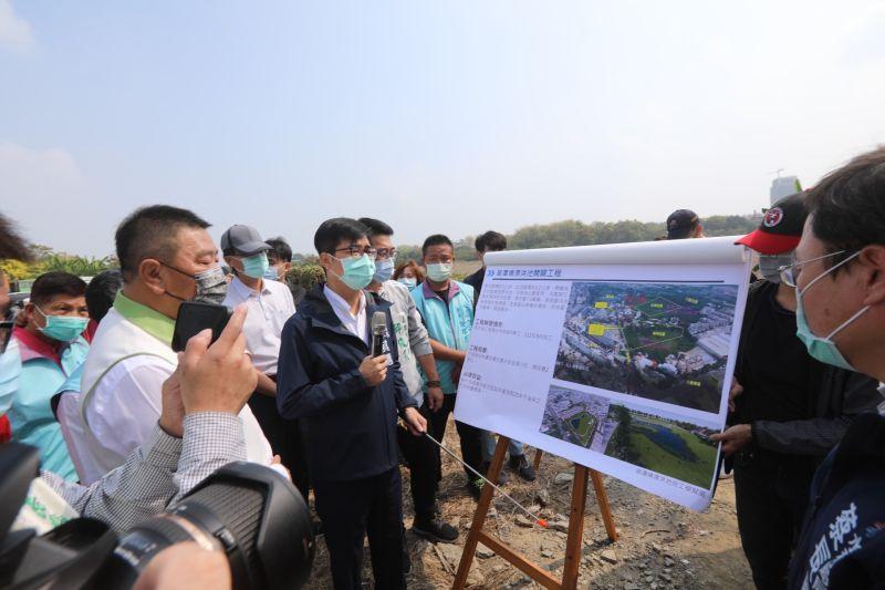 視察北屋排水工程 陳其邁呼籲民眾節約用水