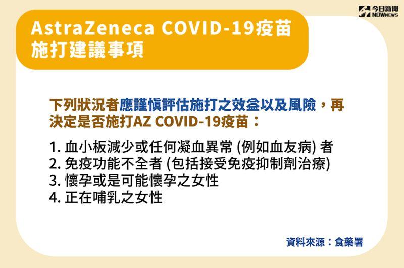▲指揮中心說明AZ疫苗施打建議事項。(圖/